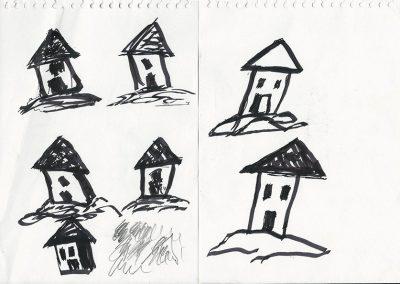 בית בנוי על חול, 2013, רישום טוש על נייר