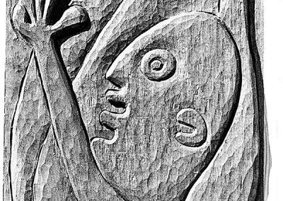 דמות עם חיה, 1958, תבליט עץ מהגוני