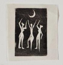שלוש נשים עם ירח, 1948, תחריט לינוליאום על נייר