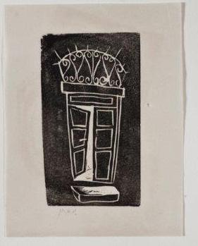 דלת, 1950, תחריט לינוליאום על נייר