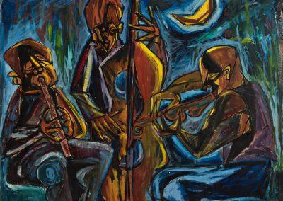 הצוענים (3 נגנים), 1953, ציור שמן על בד
