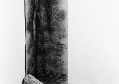 מצב, 1987, עבודת פינה, עץ ופחם על נייר
