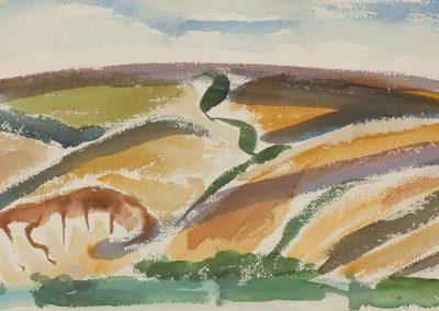 נוף נגב, 1953, צבעי מים