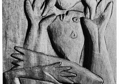 תפילה לשמש, 1957, תבליט עץ מהגוני