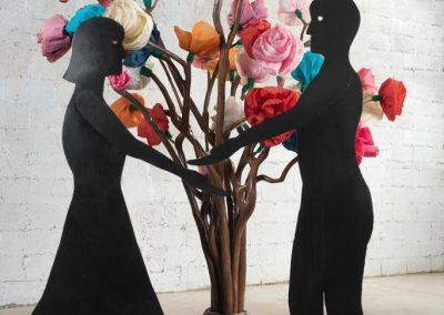 איש אישה ועץ, 2012, ברזל, עץ ונייר קרפ